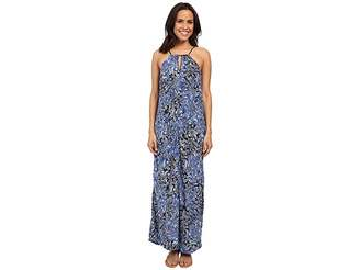 Lucky Brand Indigo Floral Maxi Dress Women's Dress