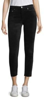 Rag & Bone High-Rise Velvet Cropped Skinny Jeans