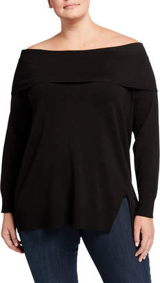 525 America Plus Plus Size Marilyn Fold-over Off-the-Shoulder Sweater