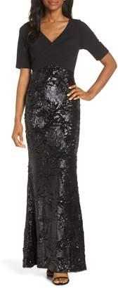 Adrianna Papell Sequin Skirt Evening Dress