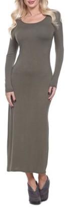 White Mark Women's Ria Long Sleeve Maxi Dress