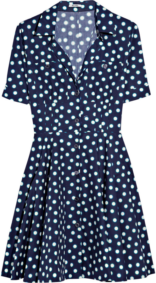 Miu Miu Polka-dot cotton-poplin dress