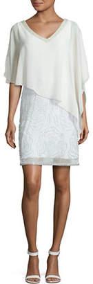 J Kara Beaded Asymmetric Chiffon Overlay Dress