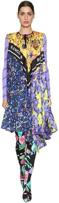 Balenciaga Printed Twill & Crepe Scarf Dress