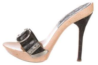 Gianmarco Lorenzi Buckle-Accented Leather Pumps