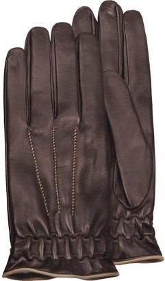 Forzieri Men's Brown Cashmere-Lined Calf Leather Gloves
