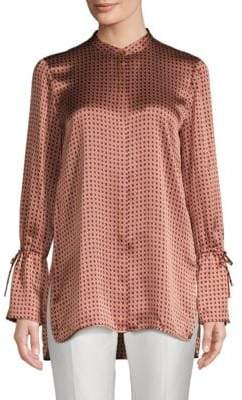 Lafayette 148 New York Desra Silk High-Low Print Blouse