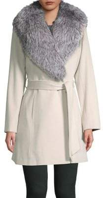 Sofia Cashmere Hollywood Fox Fur Wrap Coat