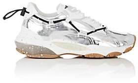 Valentino Men's Paint-Splattered Specchio Leather Sneakers-Silver
