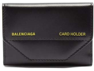 Balenciaga Logo Debossed Leather Cardholder - Mens - Black
