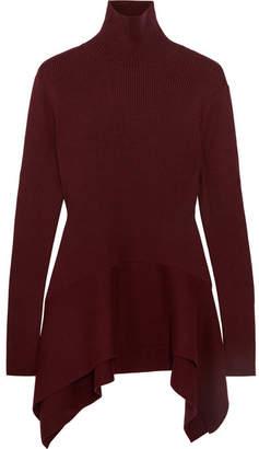 ADEAM Asymmetric Ribbed Silk Turtleneck Sweater - Burgundy