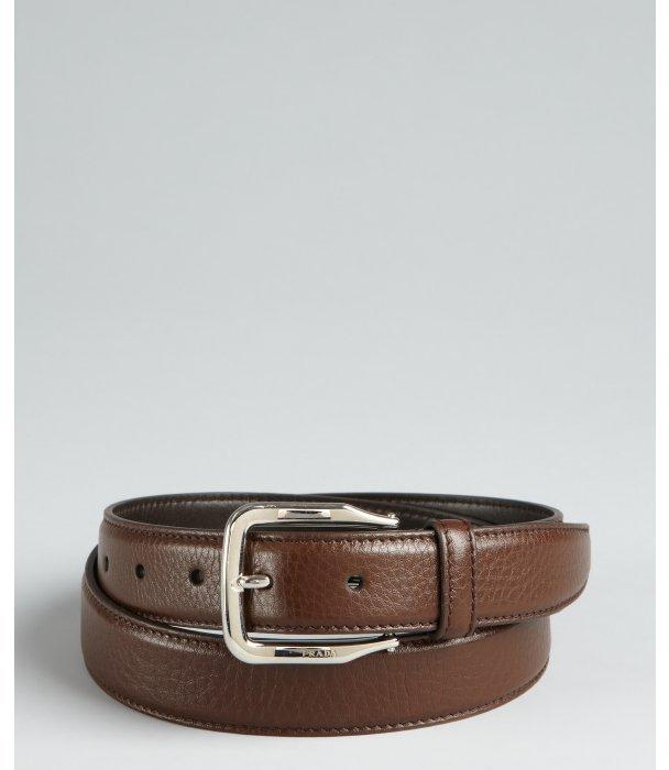Prada coffee leather curved buckle belt