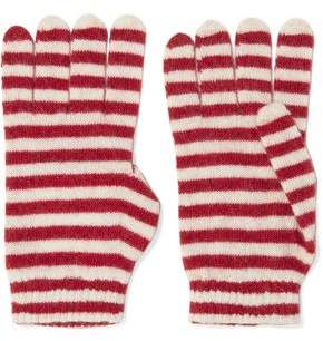 Red(V) Red(v) Striped Knitted Gloves