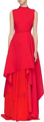 SOLACE London 'Serafine' pleated underlay tiered drape maxi gown
