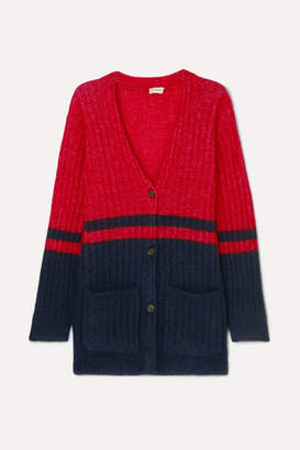 By Malene Birger Two-tone Ribbed-knit Cardigan - Navy