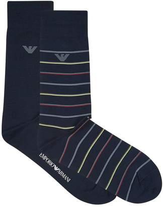 Emporio Armani Stretch Cotton Striped Socks (Pack of 2)