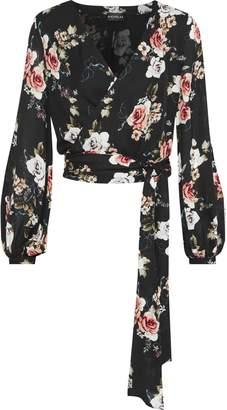 Nicholas Floral-print Silk Wrap Top