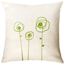 Paper Cloud Poppies Pillow