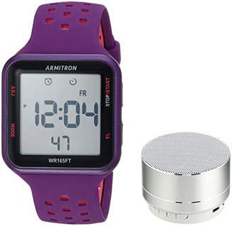 Armitron Unisex Sport 40/8448PRSVST Pink Accented Digital Chronograph Purple Silicone Strap Watch and Mini Bluetooth Speaker