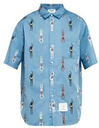 Thom Browne Swimmer Print Cotton Shirt - Mens - Blue