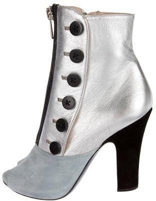 Miu MiuMiu Miu Metallic Peep-Toe Ankle Boots