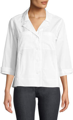 Donna Karan 3/4-Sleeve Button-Front Poplin Blouse