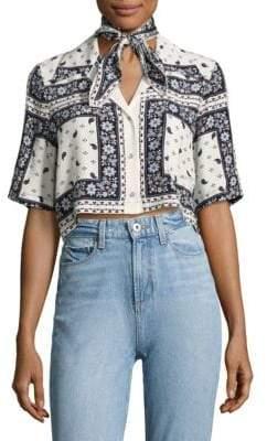 Dani Cropped Scarf-Print Silk Camp Shirt