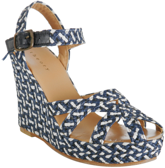 Theory navy woven jute 'Viola.Multiweave' wedges