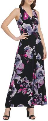 DKNY Floral Jersey V-Neck Sleeveless Maxi Dress