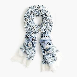 J.Crew Lightweight cotton scarf in calypso block print
