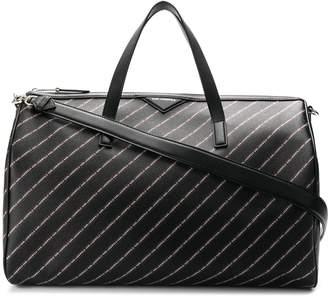 Karl Lagerfeld Paris striped logo Weekender bag
