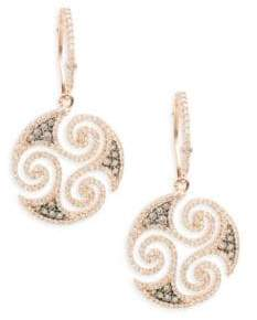 Effy Diamond, Espresso Diamond & 14K Rose Gold Solid Fill Dangle & Drop Earrings