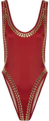 Marissa Studded Swimsuit - Claret
