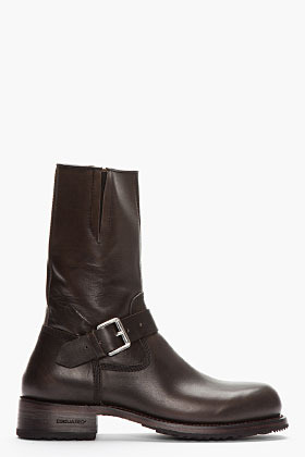 DSquared DSQUARED2 Black Leather Buckled Boots