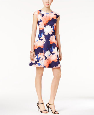Vince Camuto Floral-Print Scuba Fit & Flare Dress $148 thestylecure.com