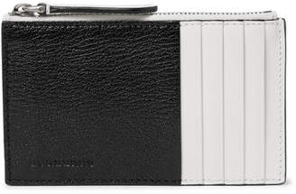 Burberry Two-Tone Full-Grain Leather Zipped Cardholder