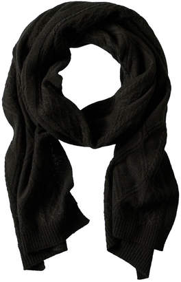 Qi Black Cashmere Cable-Knit Scarf