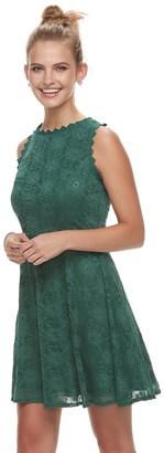 3628ff60750 Juniors  Lily Rose Scallop Trim Lace Skater Dress