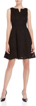 DKNY Lace Notch Fit & Flare Dress