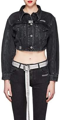 Off-White Women's Buckle-Tab Denim Crop Jacket
