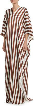 Oscar de la Renta V-Neck Vertical-Stripe Viscose Long Caftan Dress
