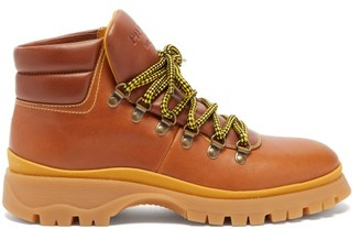 Prada Lace Up Leather Hiking Boots - Womens - Tan