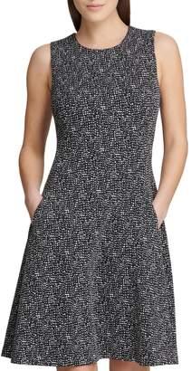DKNY Printed Tweed Fit--Flare Dress
