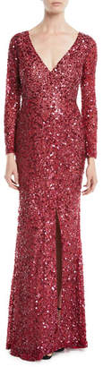 Rachel Gilbert V-Neck Long-Sleeve Sequin Embellished Evening Gown