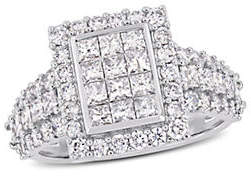 CONCERTO Halo 14K White Gold Engagement Ring with 2 TCW Diamond