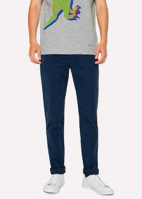 Paul Smith Men's Slim-Fit Washed Navy Stretch Pima-Cotton Chinos
