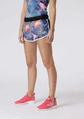 Emporio Armani Ea7 Ventus7 Tech Fabric Shorts With Floral Pattern