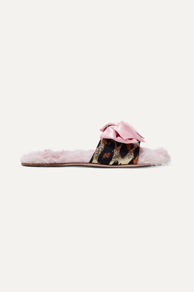 Miu Miu Shearling-lined Bow-embellished Metallic Fil Coupé Slides