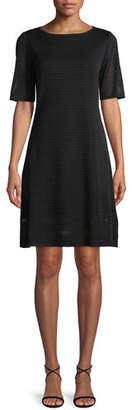Misook Short-Sleeve Ottoman A-line Dress