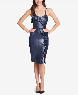 GUESS Metallic Ruffled Bodycon Dress